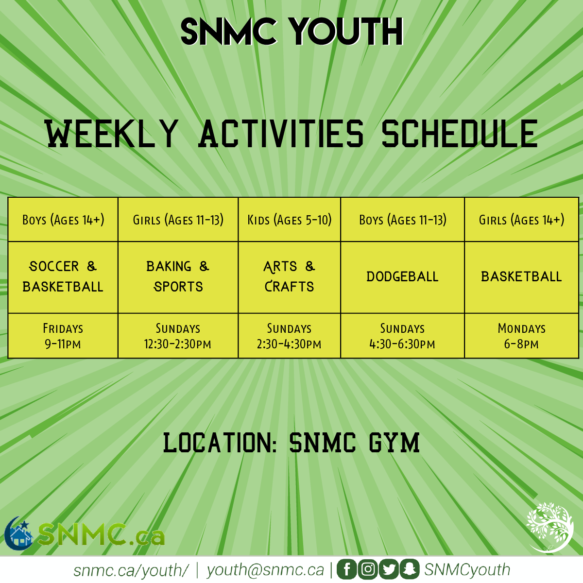 SNMC Weekly Activities